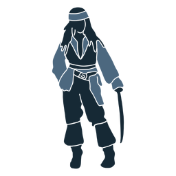 Hombre pirata espada azul duotono
