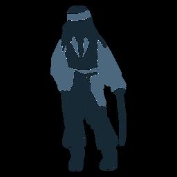 Masculino pirata em pé espada azul duotone