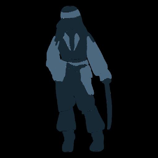 Male pirate standing sword blue duotone