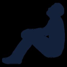 Hombre rezando inclinarse hacia atrás silueta