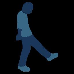 Hombre chico perezoso caminar perfil azul duotono