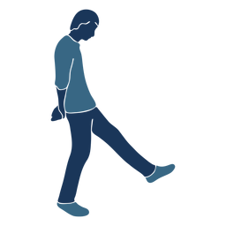 Homem menino preguiçoso andar perfil azul duotone