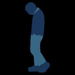 Homem triste andar perfil azul duotone