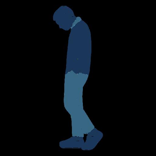 Hombre triste caminar perfil azul duotono