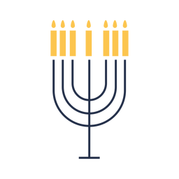 Menorah candles icon flat