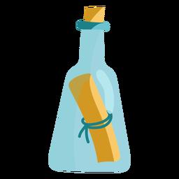 Mensagem em um ícone de garrafa azul