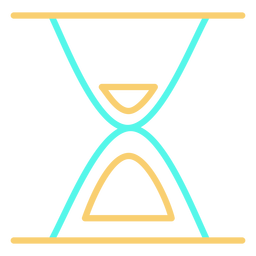 Minimalist hourglass cyan orange stroke