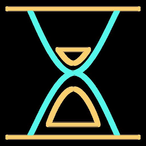 Minimalist hourglass cyan orange stroke Transparent PNG