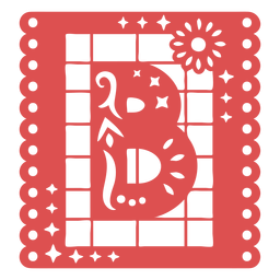 Papel picado capital letter b