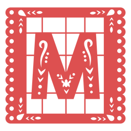 Papel picado capital letter m
