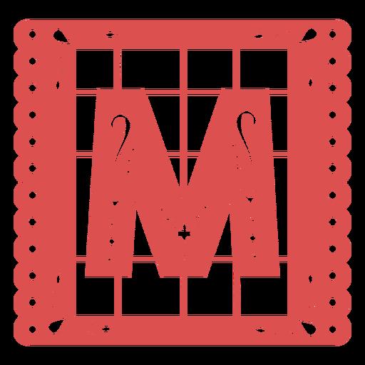 Papel picado capital letter m