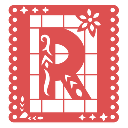 Papel picado capital letter r