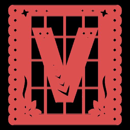 Papel picado capital letter v