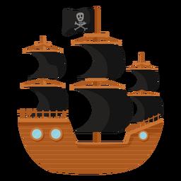 Ilustración plana de barco pirata vela negra