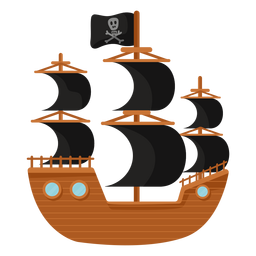 Pirate ship black sail flat illustration
