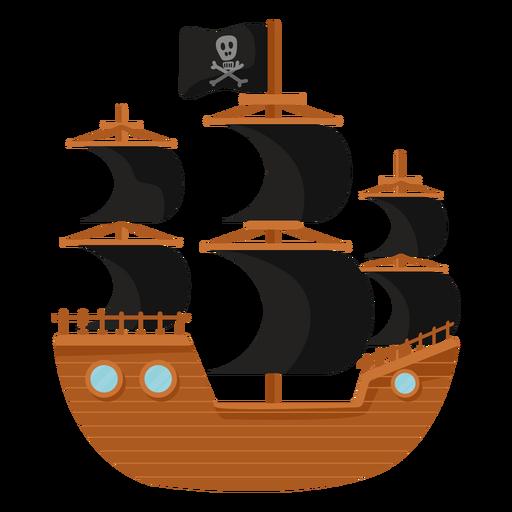 Pirate ship black sail flat illustration