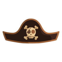 Pirate skull captain hat icon