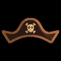 Ilustración de sombrero de capitán de calavera pirata