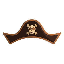 Pirate skull captain hat illustration