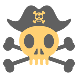Pirate skull hat over skeleton illustration