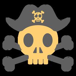 Sombrero de calavera pirata sobre ilustración esqueleto