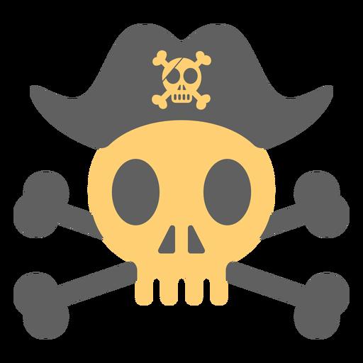 Pirate skull hat over skeleton illustration