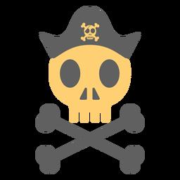 Ilustración de esqueleto de sombrero de calavera pirata