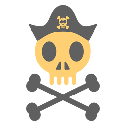 Pirate skull hat skeleton illustration