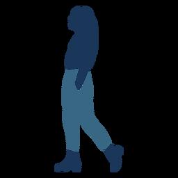 Ponytail woman girl walking profile blue duotone