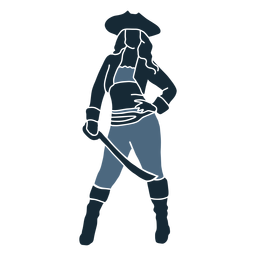 Posing female pirate sword blue duotone