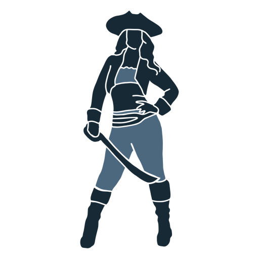 Posing female pirate sword blue duotone