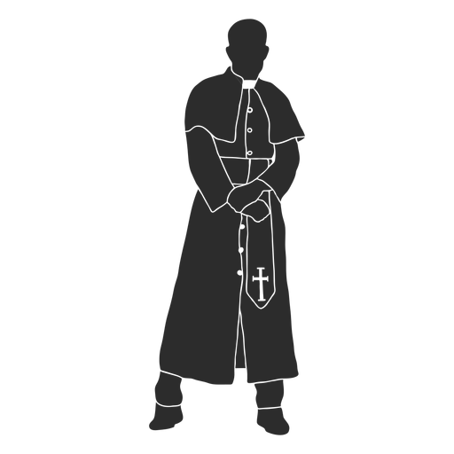 Posing standing priest clergy stencil