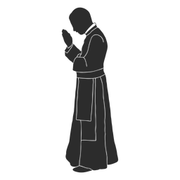 Profile praying priest clergy stencil