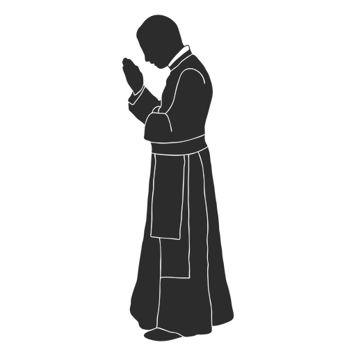 Profile praying priest clergy stencil Transparent PNG