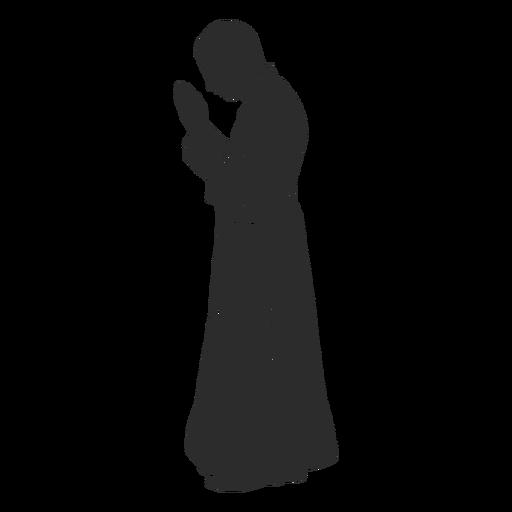 Profile praying priest clergy stencil