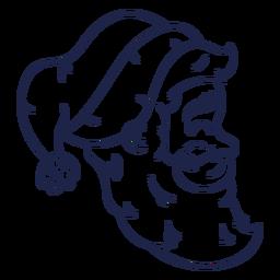 Perfil curso de cabeça de Papai Noel vintage
