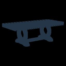Perspectiva de silueta de patas de círculo de mesa de centro rectangular