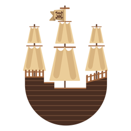 Round pirate sail boat icon