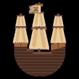 Rundes Piratensegelboot-Symbol