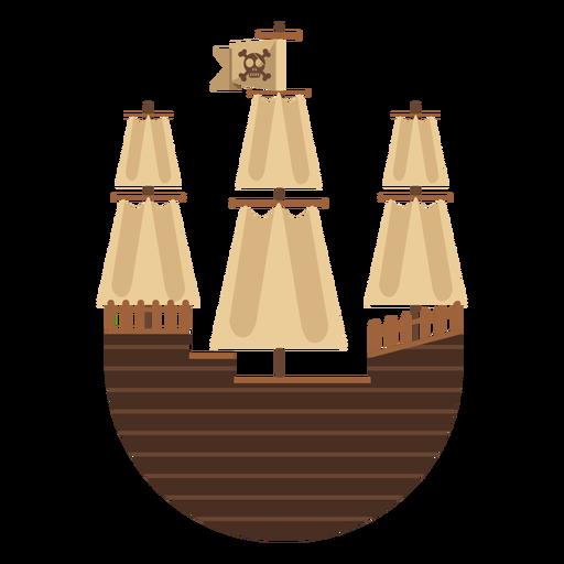 Round pirate sail boat icon