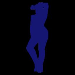Chica sexy brazo en frente de pie silueta azul