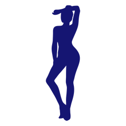 Sexy girl arm on forehead standing silhouette blue