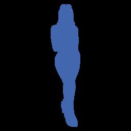 Garota sexy vista frontal sapatos de salto altos silhueta azul
