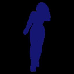 Chica sexy vista frontal cola de caballo tocando silueta azul