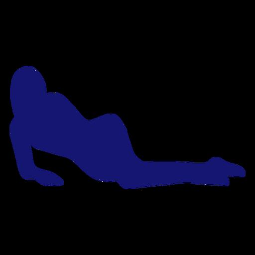 Chica sexy posando descansando silueta azul Transparent PNG