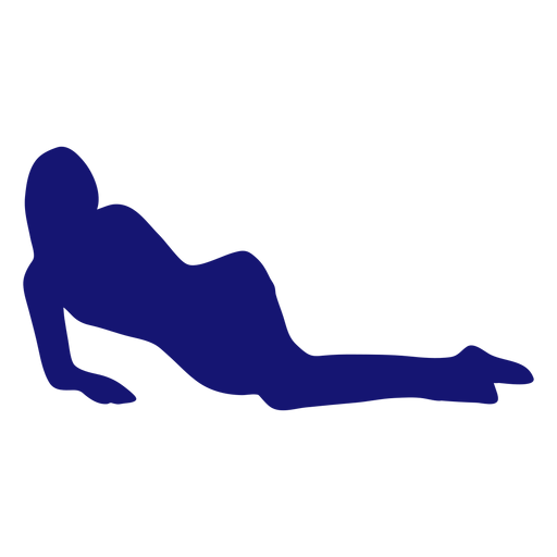 Sexy girl posing lounging silhouette blue