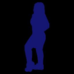 Sexy girl profile posing silhouette blue