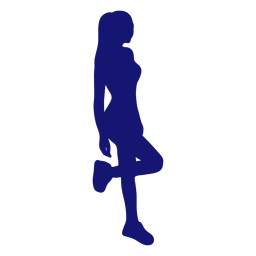 Sexy girl standing leaning silhouette blue