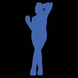 Chica sexy de pie posando silueta azul