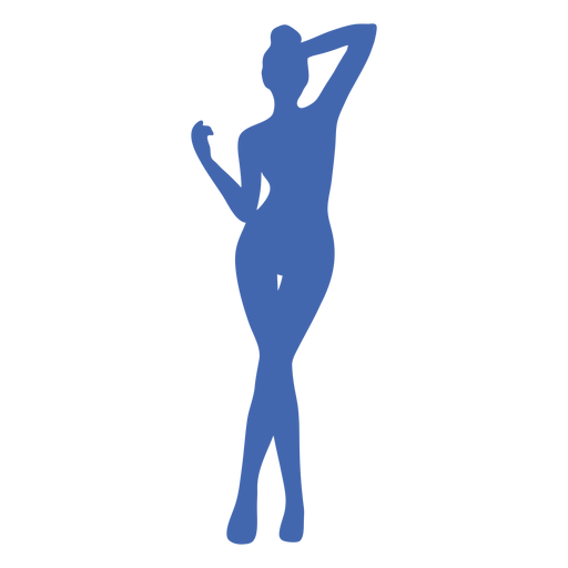 Sexy girl standing posing silhouette blue Transparent PNG